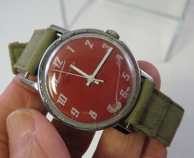 $19.99 • Buy Vintage Timex Red Face Military Style Band Not Working Needs Crystal