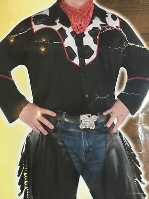 $39.99 • Buy ADULT Plus MENS Cowboy Costume Rodeo Western Fringe Chaps & Shirt WILD WEST NEW