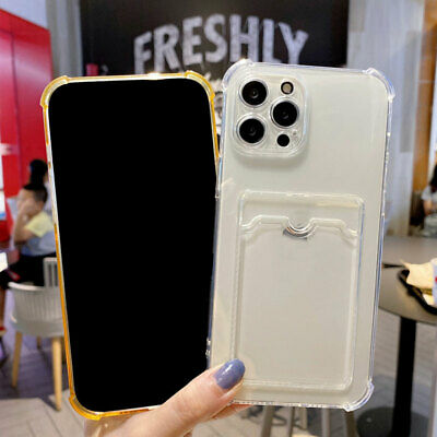 AU4.19 • Buy Clear Phone Case With Card Slot Holder For IPhone 12 11 Pro Max Mini XS XR X 7 8