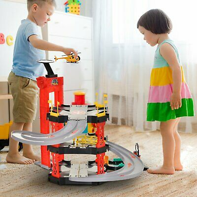 £45.99 • Buy Kids Cars And Helicopter Parking Lot Garage Race Toy Playset With Accessories