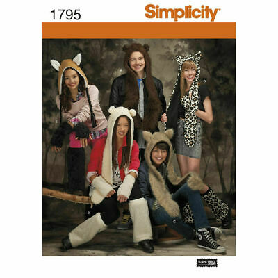 £8.99 • Buy Simplicity Sewing Pattern 1795 Animal Hats With Arm & Leg Warmers S-L Ears
