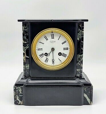 £51 • Buy Antique French Slate & Marble Mantel Clock J W Benson 8 Day Mantle Clock