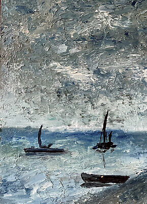 £16.99 • Buy Fernand Audet Signed French Oil - Blue Boats On Blue Seas