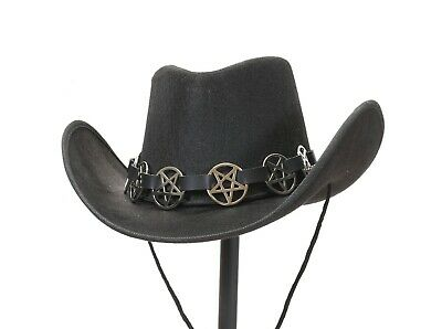 $29.99 • Buy Cowboy Hat With Pentagram Goth  Leather Band Steampunk Costume Top Hat Cosplay