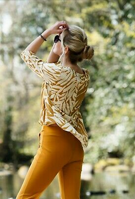 £15 • Buy Captain Tortue French Design Printed Viscose Wrap Mustard Blouse Size 40 (UK12)
