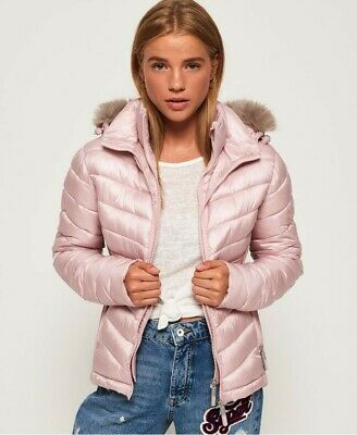 £60 • Buy SUPERDRY Ladies Pink Hooded Luxe Fuji Jacket. Size 14 UK Brand New With Tags
