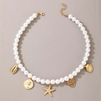 £4.99 • Buy Imitation Pearl Choker Necklace With 5 Gold Charms - Boho Summer Holiday Beads