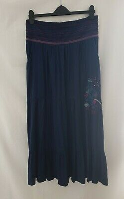 £7.99 • Buy Joe Browns Ladies Navy Blue Embroidered Tiered Maxi Skirt Peasant Boho Size 16