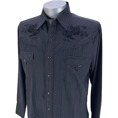 $24.27 • Buy Ely Cattleman 1878 Mens Pearl Snap Western Shirt Embroidered Black Size Large