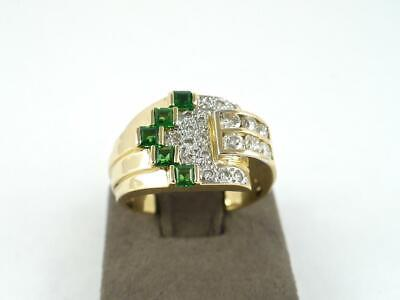 $1195 • Buy Le Vian Mens Ring 1ctw Natural Emerald Diamond 18K Yellow Gold 12mm Wide Size 8