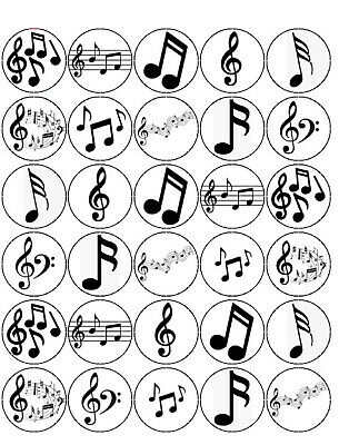 £2.34 • Buy 30 Pre-cut Music Notes Cupcake Cake Edible Rice Wafer Paper Toppers Decorations
