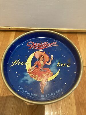 $59 • Buy Miller High Life Girl On Moon 13  Round Metal Beer Serving Tray Form # 303