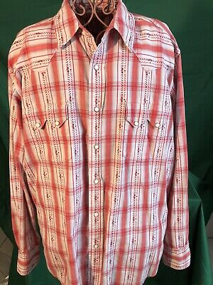 $27 • Buy Lucky Brand Dungarees Men's Striped Pearl Snap L/S Button Up Shirt - Size Large