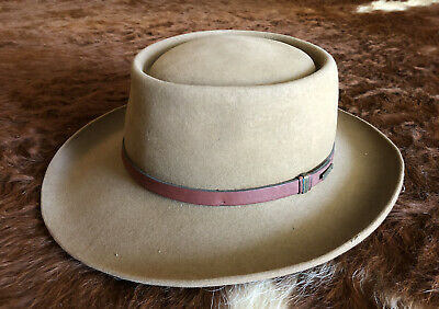 $44 • Buy STETSON Western Brown Felt Hat 7 1/4 The Gun Club USA Made Leather Band