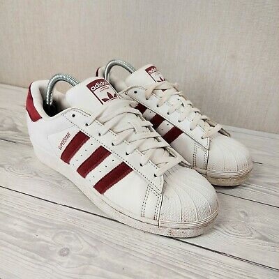 $ CDN39.90 • Buy Adidas Superstar White Maroon Red Suede Leather Womens Trainers Size 7
