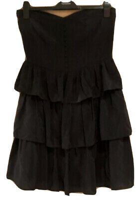 £4 • Buy Topshop Boutique 100% Black Silk Tiered Dress. Boned Top With Buttons Size 14 12