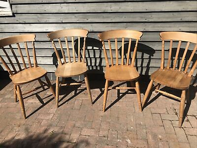 £10 • Buy Four Solid Beech Farmhouse Dining Kitchen Chairs