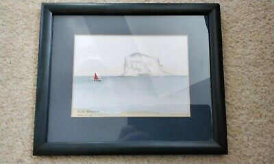 £5.70 • Buy Framed Original Watercolour Print Of Sea And Boat 11x9.5  (blue Frame