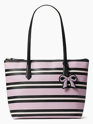 $129.99 • Buy NWT KATE SPADE New York Leather Striped Tote Large Pink CASSY OTTOMAN HANDBAG