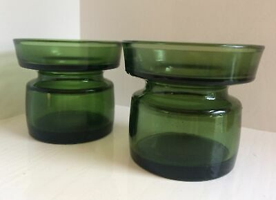 £14 • Buy A Pair Of (2) Dansk Design Vintage 1960s Danish Green Glass Candle Holders