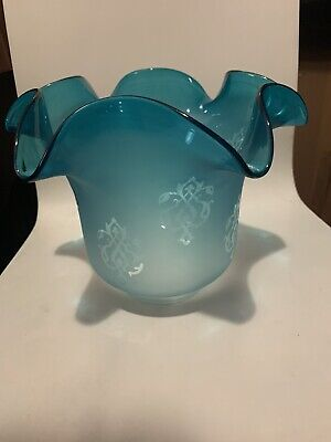 £28 • Buy Glass Tulip  Etched Oil Lamp Shade  In Excellent Condition No1234