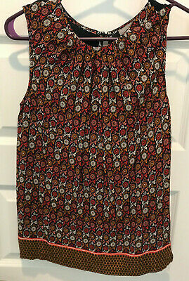 $ CDN22.57 • Buy Anthropologie Sleeveless Top, Black With Floral Print, Size XS