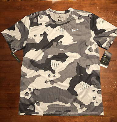 $9 • Buy The Nike Tee Men's Standard Fit, Dri-fit Size Large, Camouflage Gray And Black