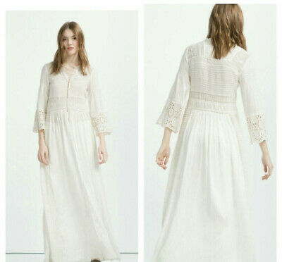 £53.94 • Buy Zara Embroidered Lace Maxi Robe Dress Bell Sleeves Vintage Edwardian Victorian L