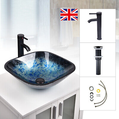 £61.99 • Buy Bathroom Sink Bowl Wash Basin Countertop Tempered Glass Tap Waste Set Square