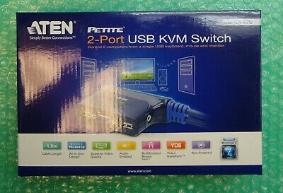 £23.99 • Buy New - Aten CS-62U 2-Port USB KVM Switch 1.8m Cables / Lead - New And Boxed