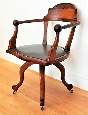 AU580 • Buy Antique English Victorian Mahogany & Leather Revolving Swivel Office Desk Chair