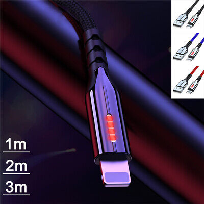 £4.08 • Buy Heavy Duty LED USB Fast Charger Cable For IPhone 12 11 Pro Max Lead 2m 3m Long