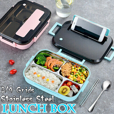 AU15.45 • Buy 3/4 Grids Stainless Thermal Insulated 1200ml Lunch Box Bento Food Containe