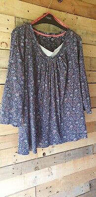 £8.50 • Buy Maine Navy Floral Print Summer Top Size 20
