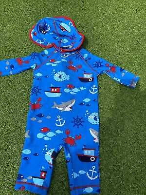 £4.50 • Buy Baby Boys All In One Swimsuit And Hat 12-18 Months