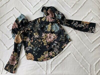 £1.20 • Buy Black Long Sleeved Floral Print Top Size 8 River Island