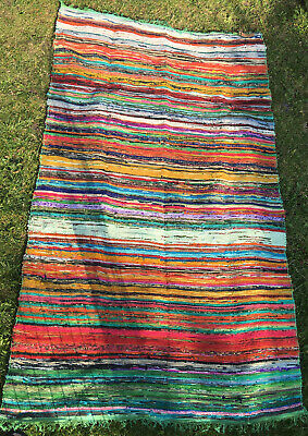 £16.50 • Buy Luxury Indian Rag Rug - Recycled Material - 151cm X 90cm - Hand Woven - Green