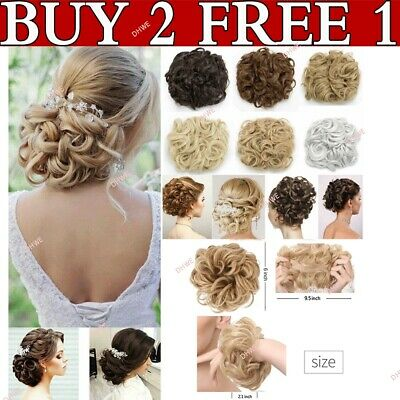 £2.85 • Buy UK Real THICK Curly Chignon Messy Bun Updo Clip In Hair Piece Natural Extensions