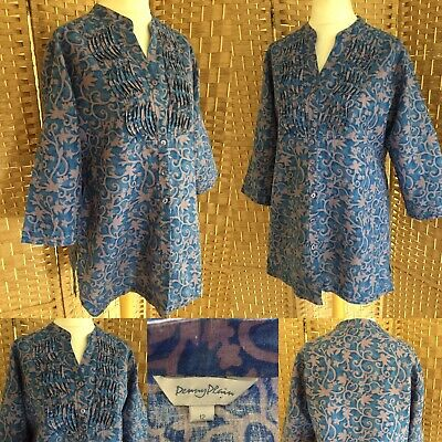 £14.99 • Buy PENNY PLAIN Blue Lilac ABSTRACT Print LINEN BLEND Tunic Top Sz 12 OVERSIZED Arty