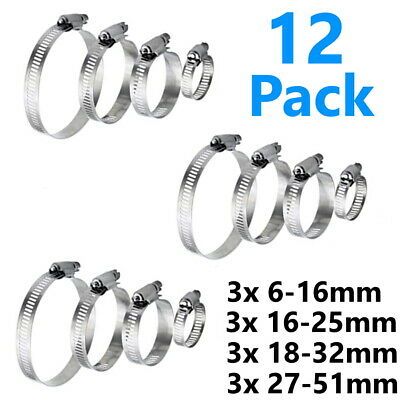 £3.29 • Buy 12 Hose Clips Clamp Jubilee Band Small Pipe Steel Clamps Plumbing Grip Worm Gear