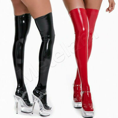 £9.99 • Buy Womens Latex PVC Leather Shiny Long Socks Thigh-High Stockings Wet Look Hold Ups