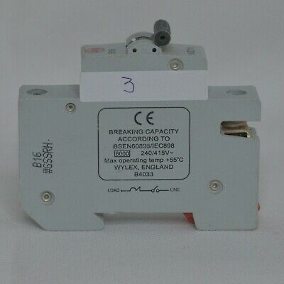 £4 • Buy Wylex 16A / 32A MCB Amp Single Pole Circuit Breaker Type B Series 3 Fuse Switch