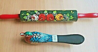 £9.99 • Buy Roses And Castles Art Ornamental Painted Rolling Pin & Decorated Duck Shoehorn