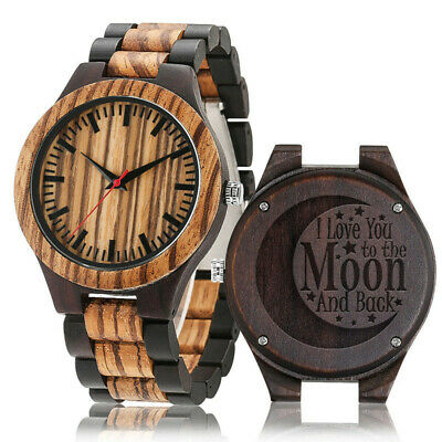 £19.57 • Buy Men Wooden Quartz Watch To My Love Watches Cover Wristwatch Full Woode Engraved