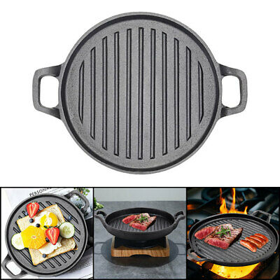£18.95 • Buy Non Stick Griddle Grill Pan Cast Iron Skillet Pizza BBQ Party Fry Steak Cooking
