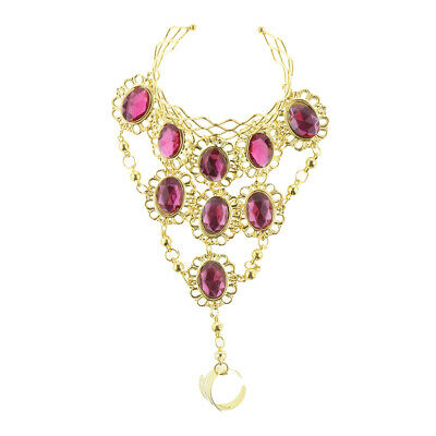 £4.37 • Buy Belly Dancing Bracelet With Finger Ring Indian Dance Fashion Jewelry Pink