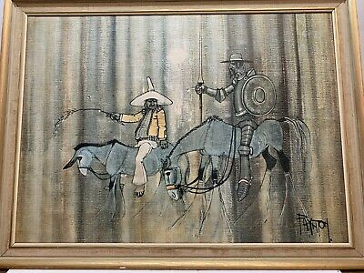 £32 • Buy Mid Century Vintage Retro Print Don Quixote By Colin Paynton Framed Boots