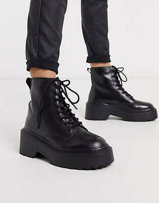 £22.99 • Buy Topshop Womens AUSTIN Chunky Black Lace Up Real Leather Ankle Boots UK 2, 4, 6
