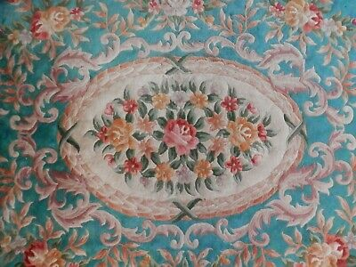 £125 • Buy Chinese Carpet Traditional Design, Turquoise Blue And Flower Design