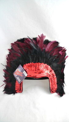 £9.45 • Buy FEATHERED CARNIVAL HEADDRESS Red Sequins Carnevale Halloween Masked Ball
